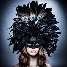 Black Venetian Carnival Masquerade Top Feather Women Sexy Eye Mask Mardi Gras