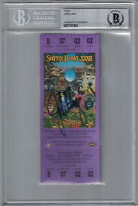 John Elway Autographed Denver Broncos Super Bowl XXXII Ticket BAS 24649