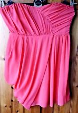ASOS Bandeau Bandage Dress UK 12 Coral Ruched Layered Strapless Clubwear Party