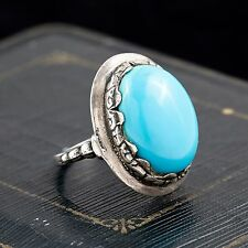 Antique Vintage Art Deco Sterling Silver Cini Persian Turquoise Ring Sz 6.75