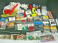 LOT VINTAGE SEWING NOTIONS CRAFT SUPPLIES GLITTER BEADS SEQUINS EYES CRAFT LOT
