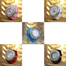 New Women Creative Crystal Fashion Steel Round Elastic Quartz Finger Ring Watch