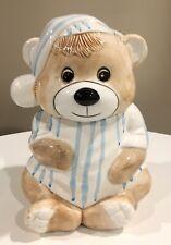 Vintage Cookie Jar Teddy Bear in Blue &. White Striped Pajamas & Night Cap