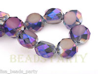 10pcs 12mm Drum Faceted Charms Crystal Glass Bead Loose Spacer Beads Purple