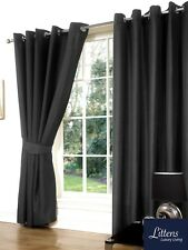 """90"""" x 90"""" Slate Grey Faux Silk Pair Curtains Eyelet, Ring Top, Lined Inc Tieback"""