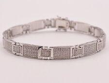 """Men's Clear CZ Zircon Chain Link Rolex Bracelet Sterling Silver 925 White 8.5"""""""