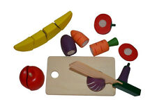 Wooden Kids Cut Up Pretend Play Kitchen Toy Food Cutting Fruit Vegetable 8 Piece