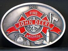 John Deere FIRE BRIGADE Belt Buckle 2011 Limited Ed 50/170 Spec Cast Tractor NEW