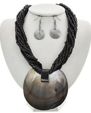 Strand Black Glass Seed Bead Big Natural Shell Pendant Necklace Earring