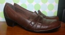Clarks Brown Leather Womens Dress Business shoes Comfort Mule Heels 9.5 M