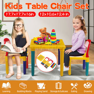 Kids Desk Chair Table Set Yellow Play Study Children Activity Furniture Toddler