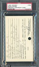 1933 Goudey #180 Eddie Moore Original Copyright Patent Proof Registration PSA
