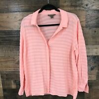 Tommy Bahama Women's Pink Semi Sheer 100% Cotton Tab Sleeve Button Up Shirt