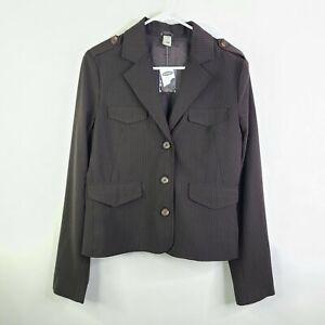 NWT Old Navy Black Striped Blazer Military Style Jacket Size M
