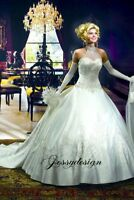 Pompöses Satin Brautkleid Neckholder Stickerei Perlen mit abnehmenbare Schleppe
