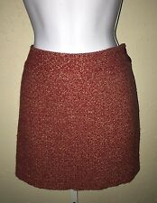 J. Crew Tweed Mini Skirt Size 6 Rust Boucle Wool Blend Straight Side Zip Lined