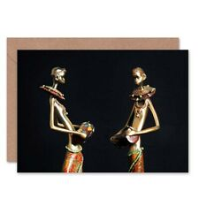 African Figurines Tribe Drums Birthday Blank Greeting Card With Envelope