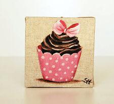 Tableau  cupcake rose à pois  décoration cuisine style kitch