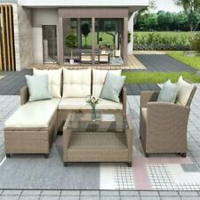 All Weather 4 Pieces Outdoor Patio Sectional Furniture Set Pe Rattan Wicker New