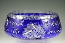 """IMPERLUX Cobalt Blue Cut to Clear Crystal BOWL Large 9.5"""""""
