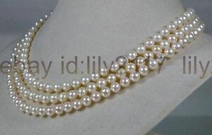 Genuine natural 6.5-7mm round white cream akoya sea pearl necklace 50 inches