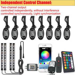 12 Pods RGB LED Rock Lights Kit Underbody Neon Music Light Lamp Bluetooth APP
