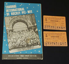1968 - QUEBEC INTERNATIONAL PEEWEE HOCKEY TOURNAMENT - PROGRAM + 2 TICKET /PASS