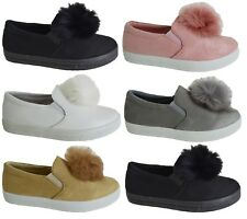 LADIES WOMENS FLAT GIRLS SNEAKERS POM POP LOAFERS PUMPS TRAINERS SHOES SIZE 3-8