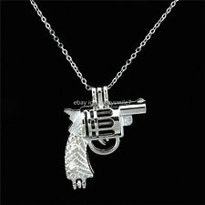 """KK11 Kids Girl Boy Toys Handgun Revolver Gun Locket Steel 16"""" Chain Necklace"""