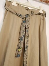 Fat Face Long Green Skirt Size 8 Herringbone Texture Fabric Belt Embroidered