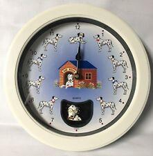 "Dalmatian Wall Clock w/ Sound & Pendulum- Collectible - 10""l x 10""h x 2""w"