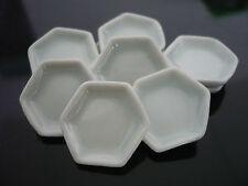 10 White Hexagonal Plates Dollhouse Miniatures Kitchenware Ceramic  Supply Deco
