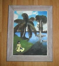 MID CENTURY PAINTING & FRAME ON BOARD OF OLD TROPICAL FLORIDA, PALM TREES, WATER