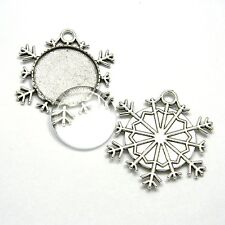 Antique Silver 25mm Round Bezel Cup Snowflake Ornament Pendant w/ Glass Cabochon