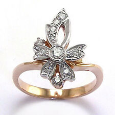 Russian Style Diamond Ring 14k Rose & White Gold Style #R740