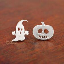 Halloween Post Stud Earrings A1346 925 Sterling Silver Lovely Ghost Pumpkin