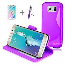 PURPLE Wallet 4in1 Accessory Bundle Kit S TPU Case Samsung Galaxy S6 Edge Plus +