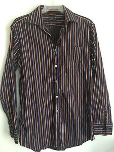 Men's Paul Smith Shirt Size 15.5  / Iconic Multi Stripes Made In Italy