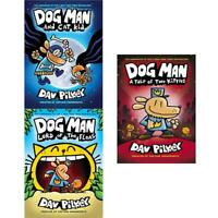 Dav Pilkey Collection Dog Man Series 3 Books Set Lord Of The Fleas Cat Kid NEW