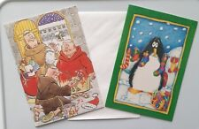 ⭐ Funny Humorous Christmas Cards x 2 - Penguin/Monks Theme (2 Designs)