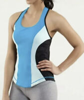 Lululemon Blue Black Color Block Racerback Cardio Kick Tank Top Size 12