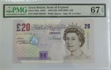 1999 GREAT BRITAIN 20 Pounds PMG67 EPQ SUPERB GEM UNC {P-390a}***Lowther***