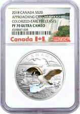2018 Canada $20 3D Approaching Canada Goose Colorized ER NGC PF70 UC Box COA OGP