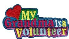 Girl MY GRANDMA is a VOLUNTEER Fun Patches Crests Badge SCOUTS GUIDE troop daisy