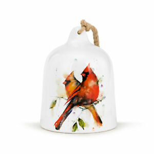 Cardinal Pair Watercolor Red 6 x 5 Ceramic Stoneware Large Decorative Bell
