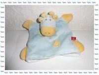H - Doudou Semi Plat Marionnette Vache Girafe Bleu Jaune Vert Tex Baby