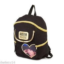 Austin Mahone Girl's Black & Gold Canvas Backpack Bookbag Heart Photo AM Mahomie