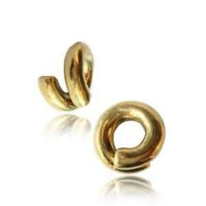 PAIR 4G BRASS COIL TWISTS EAR WEIGHTS PLUGS TUNNELS STRETCH GAUGE HOOPS