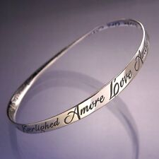 Love Bracelet Bangle Inspire Message STERLING SILVER French Spanish Languages