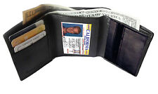 BLACK MENS LEATHER CREDIT CARD HOLDER PLAIN COIN ZIP TRIFOLD WALLET ID BADGE g16